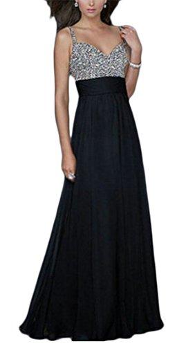 Jaycargogo Femmes Sangle Spaghetti Col V Profond Sequin Tulle Noir Coutures Longue Robe De Soirée