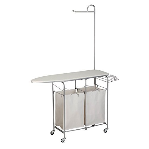 Foldable Ironing Laundry Center and Valet, Material: Cotton, Metal, Wood