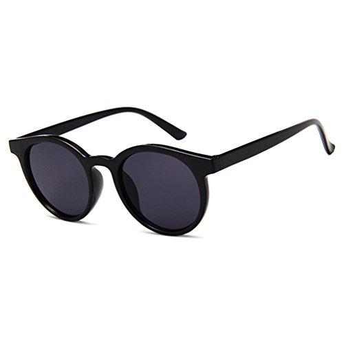 Hombres Gris LINNUO Retro Marco Negro Eyewear Redondas Sol Gafas de Unisex Colores Mujer Sunglasses FwnrgPFq