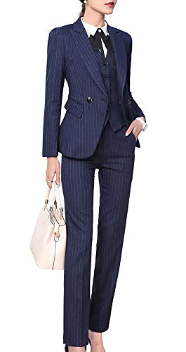 Women's Three Pieces Office Lady Blazer Business Suit Set Women Suits for Work Skirt/Pant,Vest and Jacket (Navy Blue, XS)