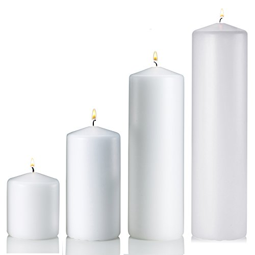 - Set of 4 Unscented Pillar Candles - 3x3 Inch, 3x6 Inch, 3x9 Inch, 3x12 Inch - Extra Long Burn Time - Ideal for Wedding, Restaurants, Spa, Hotels, Home Décor. (White)
