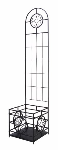 (Panacea 84540 Trellis with Planter Box Kit and Coco Liner, 76-Inch Height by 16-Inch Width by 16-Inch Diameter, Black)