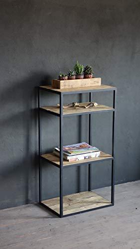 Estantería de 4 niveles estilo industrial. Ensamblada a mano con PTR de media pulgada y madera sólida de primera entintada...
