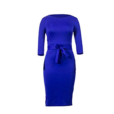 Women's Bodycon Dress Midi Work Casual Floral Prints Pencil Dresses with Belt at Women's Clothing store