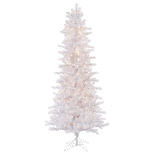 Lit Crystal Artificial Christmas Tree - Vickerman 85' Crystal White Pine Artificial Christmas Slim Tree with 650 Clear lights