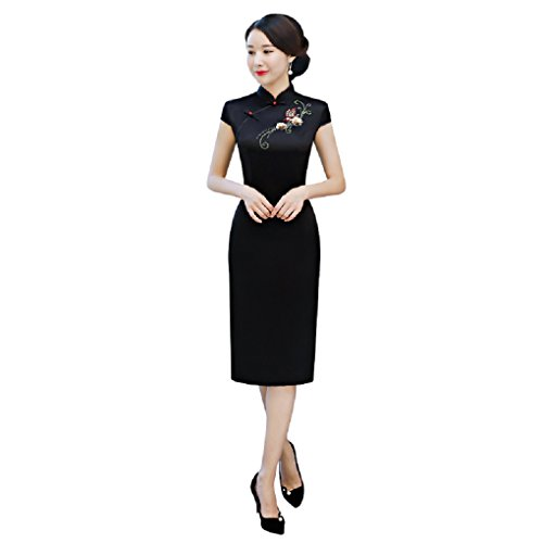 Shanghai Story Knee Length Cheongsam Faux Silk Embroidery Black Qipao Dress 3XL
