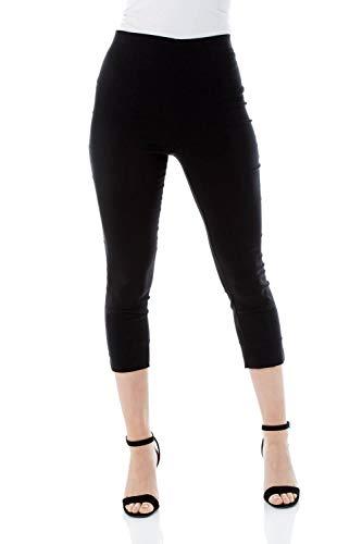 Roman Originals Women Cropped Trousers Ladies Capri Pants Stretch Bengaline Leggings Crop Summer Three Quarter 3/4…