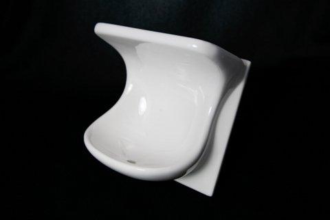 6''X6'' White Ceramic Dual Shelf Soap Dish