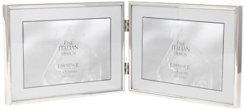 Lawrence Frames Hinged Double Simply Metal Picture Frame, 7 by 5-Inch, Silver