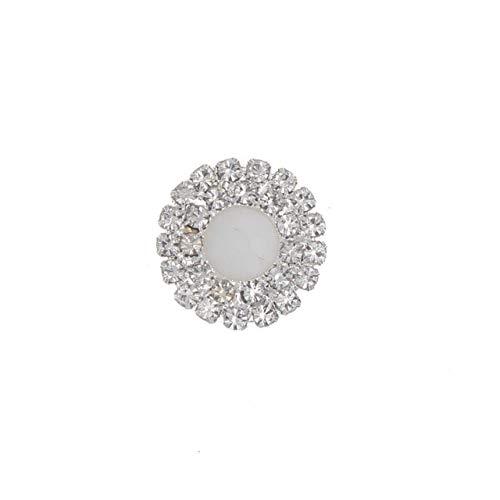 (Maslin 20mm Rhinestone Flatback Button Acrylic Sewing Accessories DIY Silver Decorative Ribbons Wedding Embellishment Decorations 10pcs - (Color: 4 Porcelain Button))