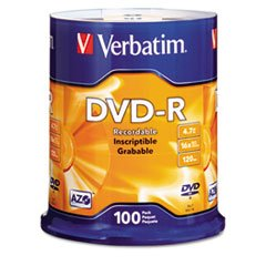 * DVD-R Discs, 4.7GB, 16x, Spindle, Silver, 100/Pack