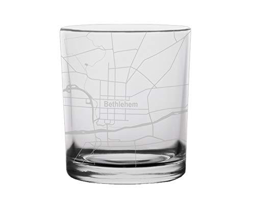 Bethlehem City Map Whiskey Glass Pennsylvania (Bethlehem City Pennsylvania)