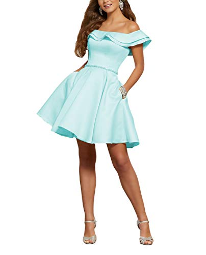 (YMSHA Women's Off The Shoulder Homecoming Dress Short with Pockets Prom Formal Party Gowns Tiffany Blue 06)
