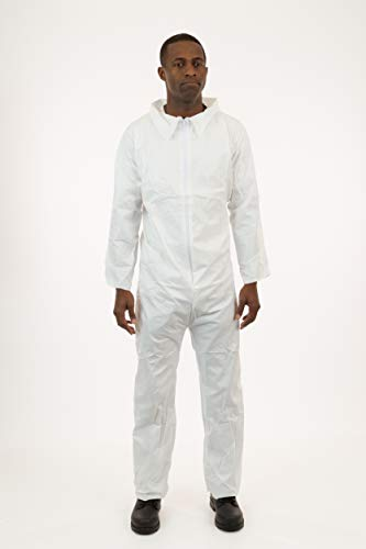 International Enviroguard White SMS Coverall, Elastic Wrist, Open Ankle, 25 - Crawl Jumpsuit Space