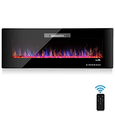 """BestComfort 50"""" Electric Fireplace, Multi-Operating Wall Mounted Fireplace,750-1500W Freestanding Fireplace with Remote Control (50"""")"""