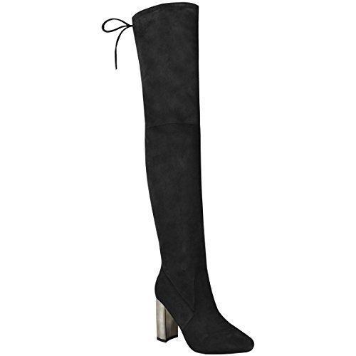 Nuevo De Mujer Por Encima De La Rodilla Botas Sobre Rodilla Elástico Tacón En Bloque Alto Talla Negro Ante Artificial