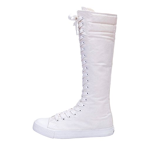 Boot White Lace Women's Up Knee Punk High rismart Canvas Sneaker n8Sqz1v1ZW