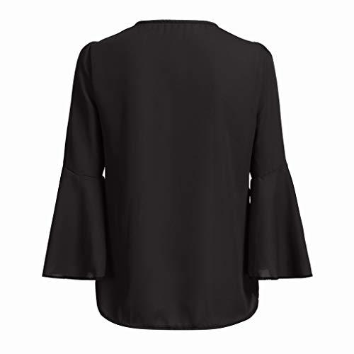 Negro Salvaje En Arriba Verano Geilisungren Moda Ocio Blusa Camiseta Convencional Primavera La V Ponente Y Sólido Tops De Color Gasa Mujer Larga Cuello Manga wCqg4R