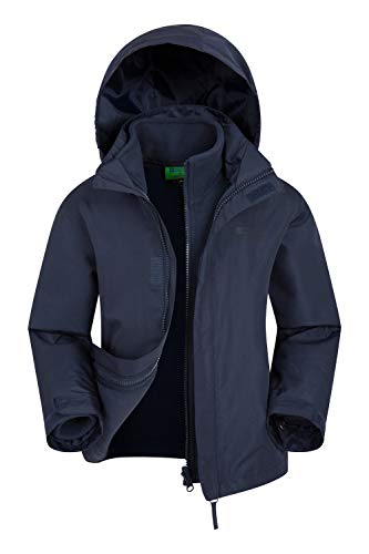 Mountain Warehouse Fell Kids 3 in 1 Jacket - Packaway Hood, Triclimate Jacket Navy 13 Years