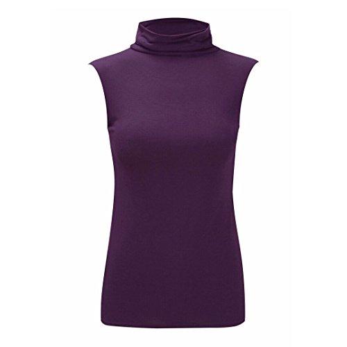 Moda 4Menos Nuevo Mujer Plus Tamaño sin mangas polo cuello chaleco Plain camiseta túnica parte superior. Reino Unido 8–�?6 morado