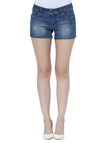 Lark Women's Denim Shorts Casual Stretchy Junior Short Jeans Mid-Blue Jean with Welt Pocket (Welt Denim Pocket)