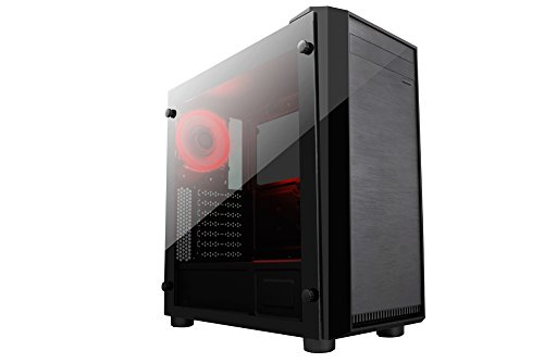 Apevia X-MIRAGEDX-RD Mid Tower with 2 x Full-Size Tempered Glass Side Window, Top USB3.0/USB2.0/Audio Ports - Red