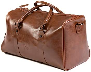 NV BAGS Duffle Gym Travel Duffel Leather Sports Overnight Weekender Brown Bag Brown