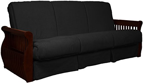 Laguna Perfect Sit & Sleep Pocketed Coil Inner Spring Pillow Top Sofa Sleeper Bed, Full-size, Mahogany Arm Finish, Microfiber Suede Ebony Black - Ebony Sofa