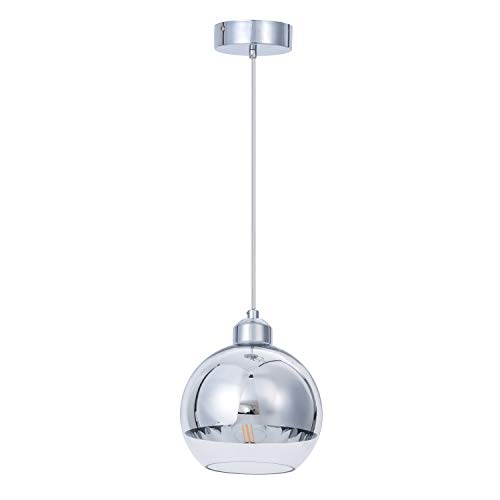 ShengQing Modern Mini Globe Pendant Light in Polished Chrome Finish with Hand Blown Clear Glass, Adjustable Mirror Ball Pendant Lighting for Kitchen Island Bedroom Dining Room Bar, 8 Inch