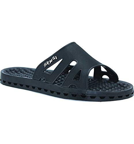 63445bc4f64451 Black Sensi Sandals  Waterproof Slide Recovery Spa Sandal with Massaging  Bumps. Handmade in Italy