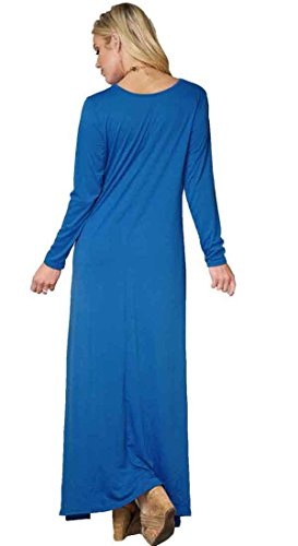 Dress Sleeve Long Long Beach Royalblue High Loose Low Pockets with Bodycon4U Solid Maxi Plus Summer Size Women's wqXxzY7O