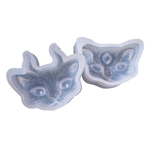 EH-LIFE 2pcs/Set Cat Head Silicone Necklace Pendant Resin Mold DIY Hand Craft Resin Molds
