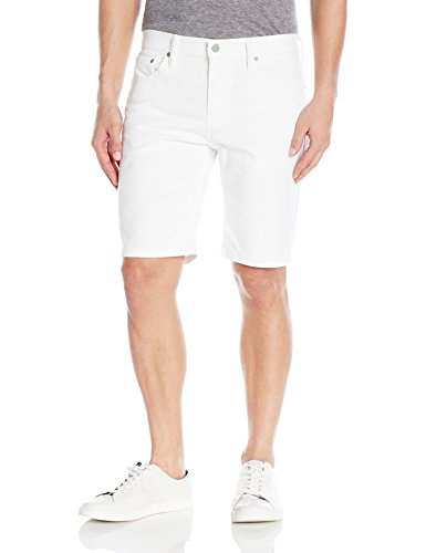 Levi's Men's 511 Slim Fit Hemmed Short, White-Bull Denim-Stretch, (Flat Front Stretch Jeans)