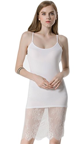 Tank Top Lace Ribbed (BEEY Women Sexy Sling Vest Stitching Lace Camisole Dress Tank Top (Medium, White))