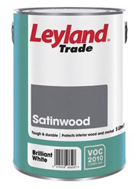 Leyland Trade Satinwood Paint Brilliant White Ltr