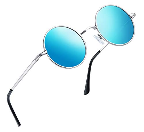 Joopin-Round Retro Polaroid Sunglasses Driving Polarized Sun Glasses Men Steampunk Vintage (Ice Blue)