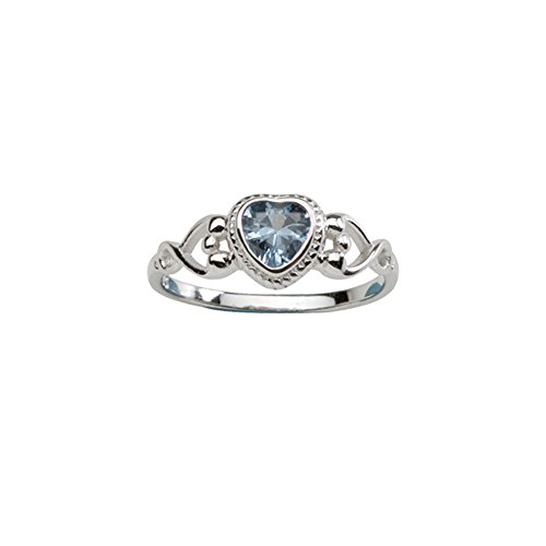 Sterling Silver Birthstone Heart Ring (Sterling Silver September CZ Simulated Birthstone Baby Ring with)
