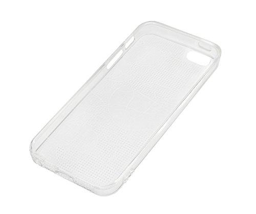 Lilware Dark Diamonds Imprint Funda Carcasa Flexible de Gel TPU Para Apple iPhone SE / 5S / 5. Textura Personalizada de Diamantes Negro Carbón Brillantes con Luz Roja Como un Láser. La Correa de Trans Líneas Abstractas