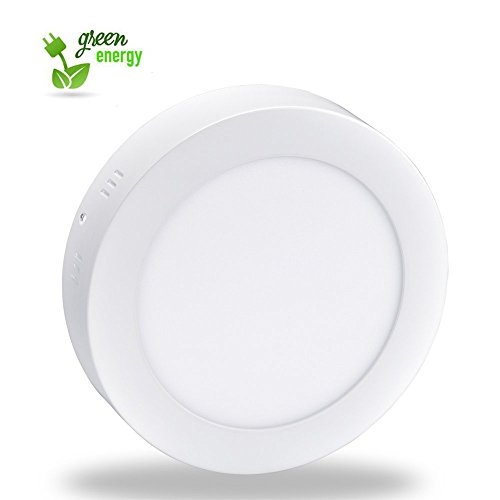 12W LED Super Bright Panel Wall Ceiling Down Lights, Panel Lamp Mount Surface, Round, Cool White/6000K, Input 86-265V, Lighting for Office/Hotel/Kitchen/Bed room/Bathroom, Aluminum [Energy Class A+] Led Round Wall
