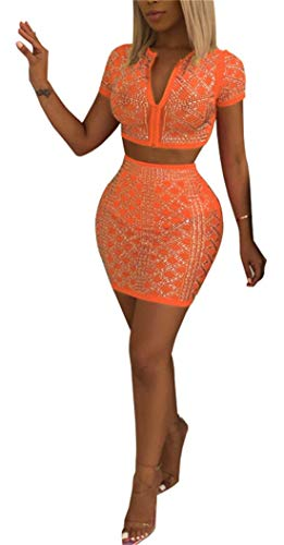 (Sequin Two Piece Outfit Sexy Crop Top Shorts Zip Front Tank Sexy Club Set S-XXL)