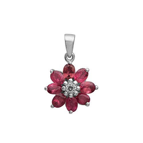 Flower Design Pink Tourmaline with White Topaz Gemstone 925 Sterling Silver Cluster Promise Pendant for Her