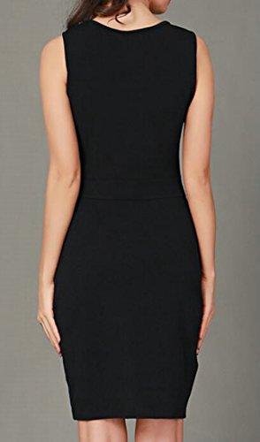 Sleeveless Cromoncent Cut Pencil Dresses Black Splice Out Sheath Short Women Printed Rggnrx5O
