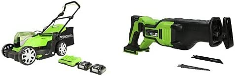 Greenworks Cortacésped con batería G24X2LM412x, Li-Ion 24VX2 41 cm Ancho Corte hasta 220 m² + Batería Sierra de Sable GD24RS, 24V Li-Ion Control de Velocidad