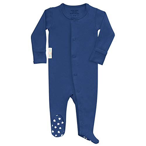 Organic Baby Onesie Footed Pajamas | Unisex Sleeper Clothes USA Grown Cotton Ocean ()