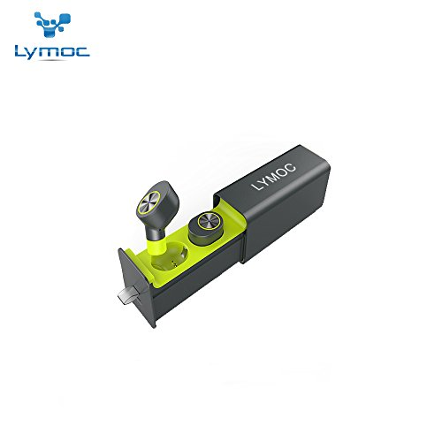 Earbud Style Hands Free Headset - LYMOC Ultra Mini TWS Bluetooth Earphones Wireless Headset Drawer Style Charger Bar Noise Cancelling 4.2 Portable Earphone with Microphone HandsFree Compatible for All Phones (Green)