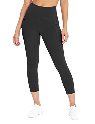 Blooming Jelly Womens High Waisted Leggings Tummy Control Workout Pocket Compression Yoga Capri (Large, Black)