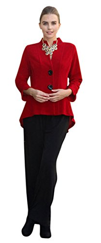 IC Collection Two Button Mandarin Collar 3/4 Sleeve Asian Style Red Jacket by IC Collection