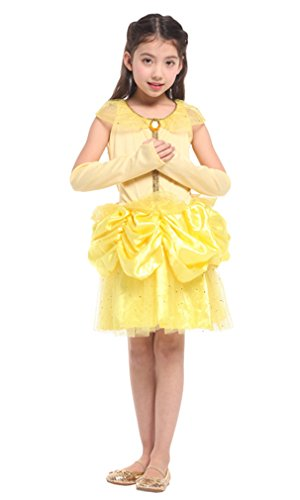Spooktacular Girls' Beautiful Belle Princess Dress-Up Costume Set with Gloves,XL
