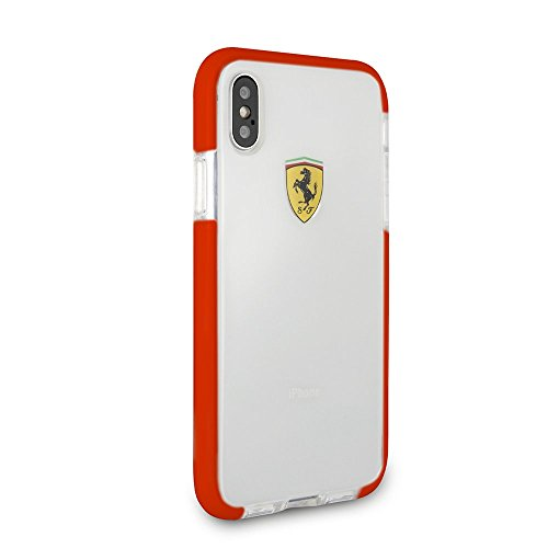 CG Mobile iPhone X & iPhone Xs Ferrari Cell Phone Case, On Track Collection, Transparent Shockproof Hard Case with Racing Shield Design and Easily Accessible ()