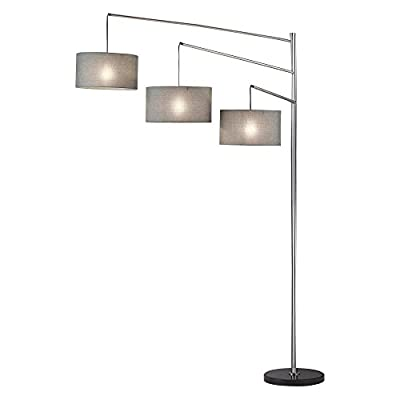 Adesso Wellington Arc Floor Lamp - Dimensions: 71L x 15W x 94H in. Metal 3-armed base with brushed steel finish 3 charcoal gray tweed-type linen fabric shades - living-room-decor, living-room, floor-lamps - 31CTmNK5qRL. SS400  -